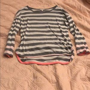 Grey and White Striped Long Sleeve Shirt